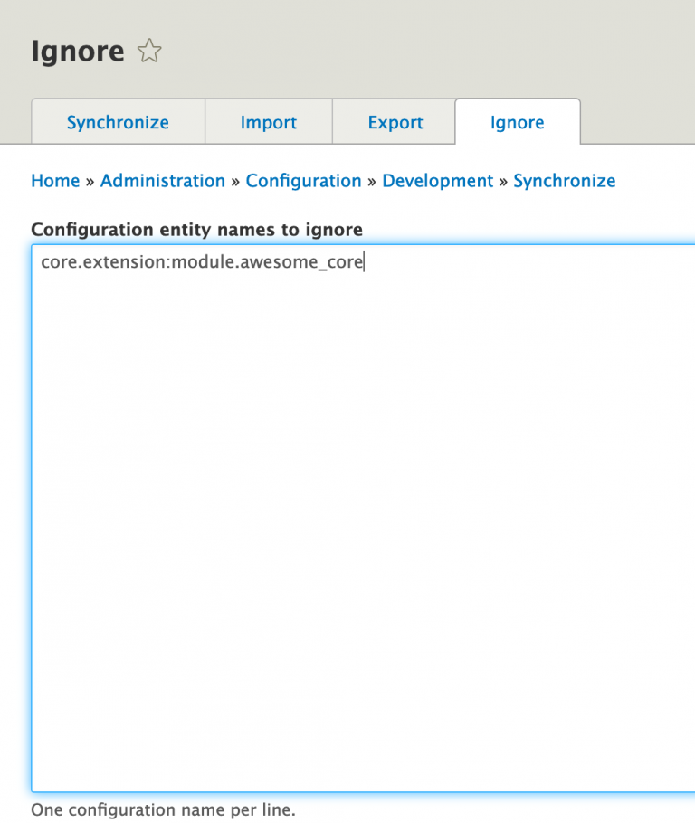 Screenshot of the Configuration Ignore module admin page