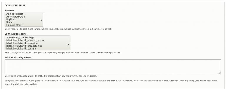 Screenshot of configuration split complete-split/blacklist settings